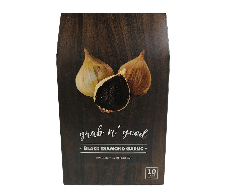 GRAB N' GOOD Black Diamond Garlic – 1st CLASS WHOLE THAI SOLO Black Garlic with ORGANIC Grown Aged for FULL 90 days ONLY 10 Kcal Per Bulb (3.52 Oz / 100 G)