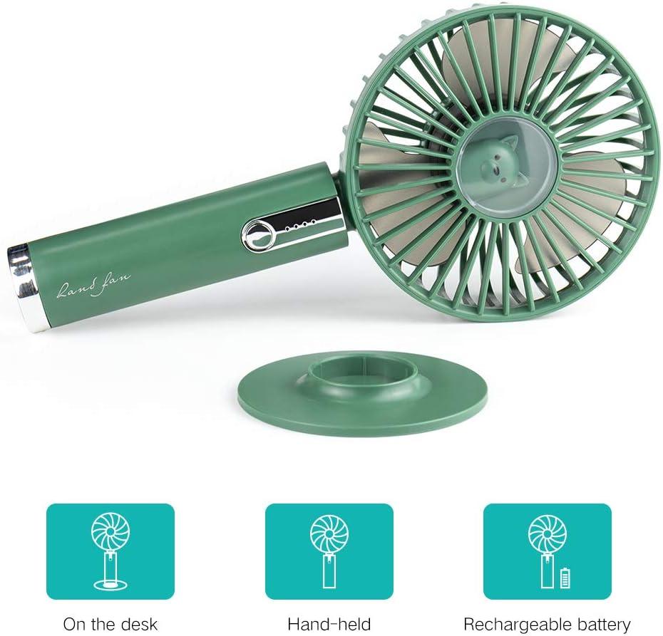 ventilatore elettrico pieghevole per viaggi ufficio USB da tavolo colore verde Yolife Mini Ventilatore portatile portatile a 3 velocit/à batteria ricaricabile per 4-6 ore casa