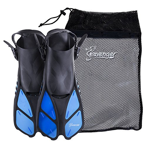 Seavenger Torpedo Swim Fins | Travel Size | Snorkeling Flippers with Mesh Bag for Women, Men and Kids (Blue, L/XL)