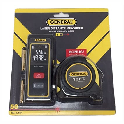 General Tools LTK1 Laser Distance Measure Kit with Tape Measure - - Amazon.com