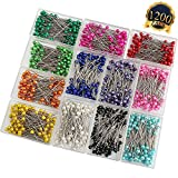 SUBANG 1200 Pieces Sewing Pins Multicolor Pearlized Head Pins for Dressmaking Jewelry Components Flower Decoration With Transparent Cases (12 Colors,38mm)