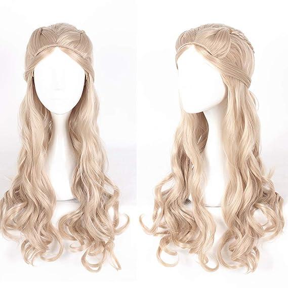 Traje de cosplay de Halloween, largo y rubio, de pelo largo y ...