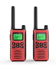 FLOUREON Walkie Talkie Two Way Radios Up to 5000Meters/3.1Miles Range 22 Channel Handheld Talkies Talky FRS/GMRS 462-467MHZ (Red)