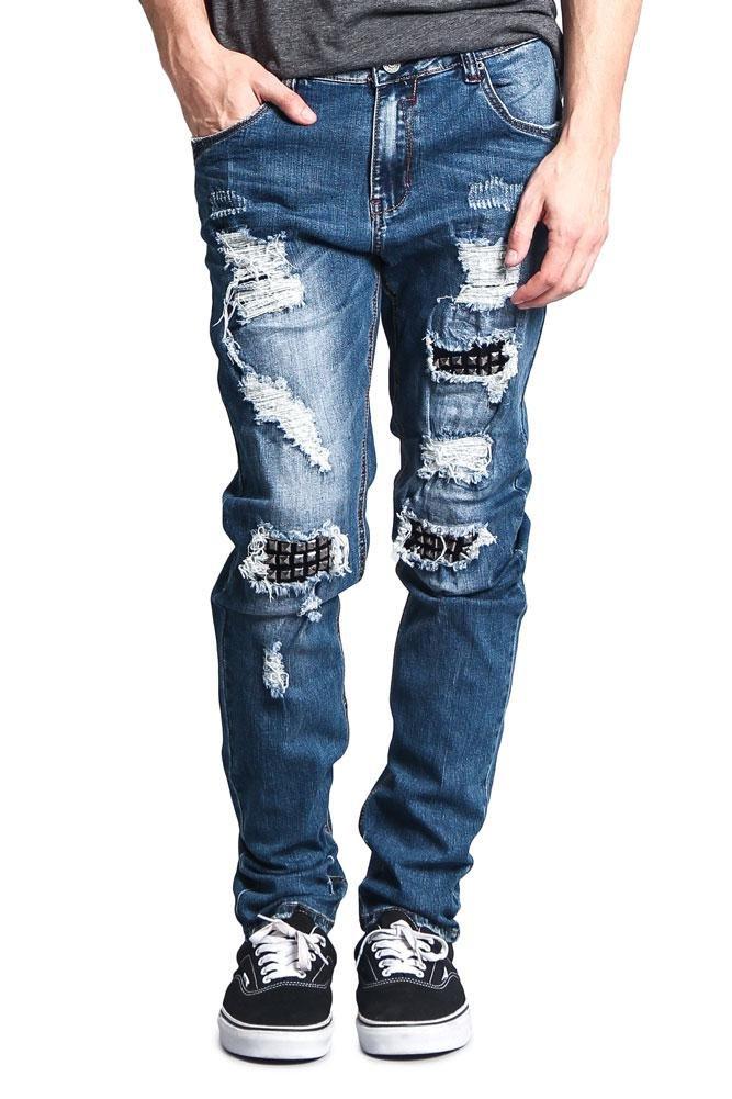 Victorious G-Style USA Men's Spike Stud Underlayered Knee Hole Ska Punk Mod Distressed High Fashion Biker Style Jeans DL1122 - Indigo - 32/30 - CC10G