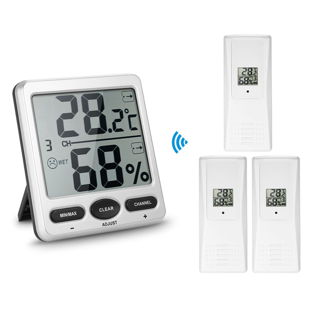 Onepeak 1 to 3 Inside Outside Remote Sensor Emitter Console Receiver Wireless Digital Thermo-Hygrometer Wine Cellars