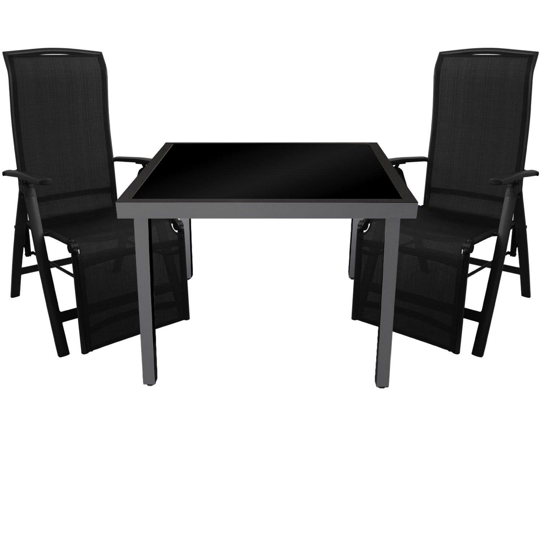 3tlg. Gartengarnitur Glastisch 90x90cm Tisch mit schwarzer Glasplatte inkl. schwarzer Klappsessel mit 2x1 Textilenbespannung 5-fach verstellbar Gartenmöbel Set