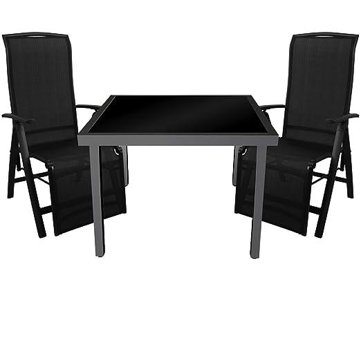 3 piezas. Mobiliario de jardín mesa de cristal 90 x 90 cm mesa con ...