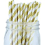 Just Artifacts - Decorative Paper Straws 100pcs - Striped Pattern - Metallic Gold - Click For More Colors! Paper Straws and Décor for Birthdays, Weddings, Baby Showers and Life Celebrations!