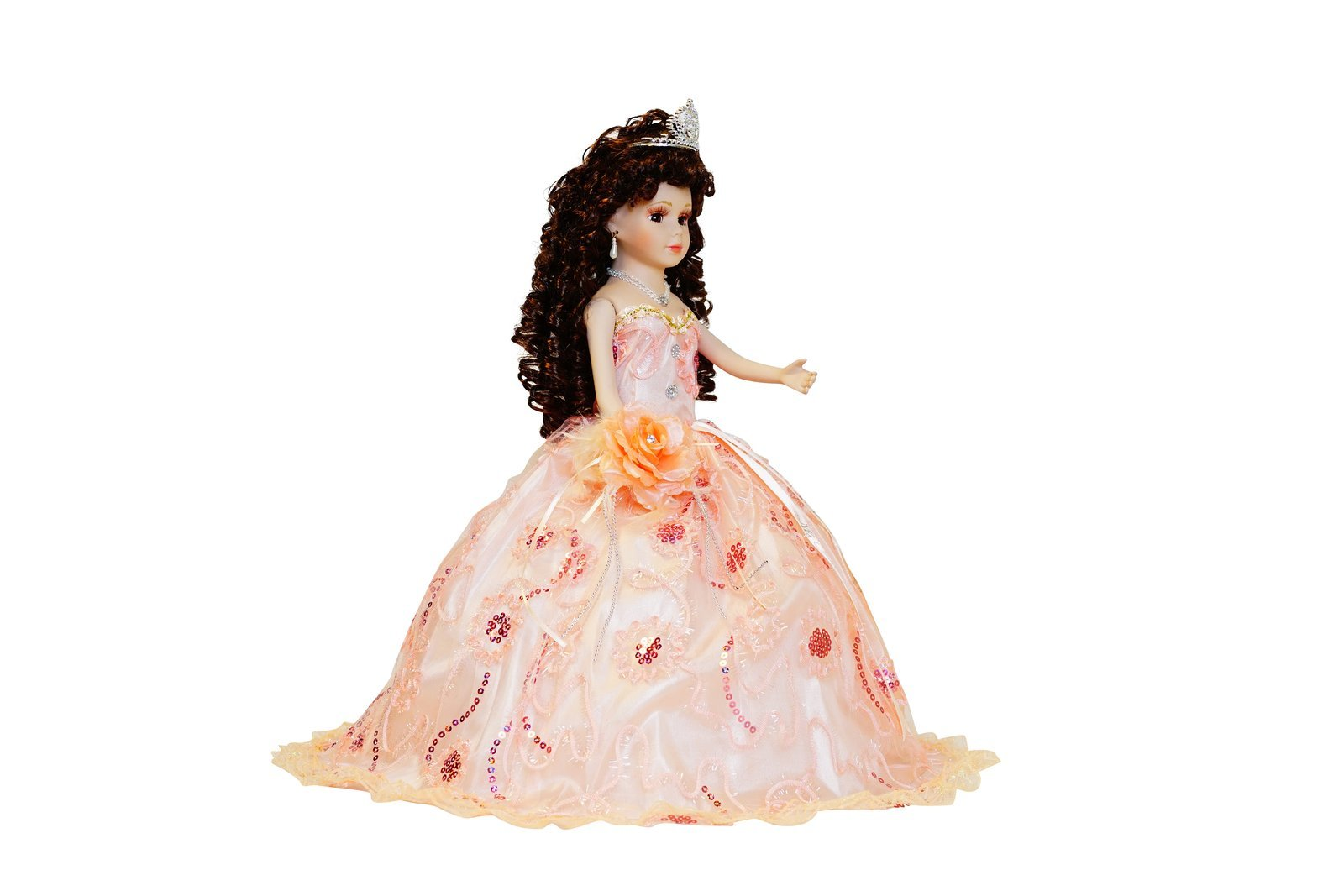 Kinnex Collections by Amanda 18'' Porcelain Quinceanera Umbrella Doll (Table Centerpiece)~ Peach~ KK18725-28 by Kinnex Collections by Amanda (Image #3)