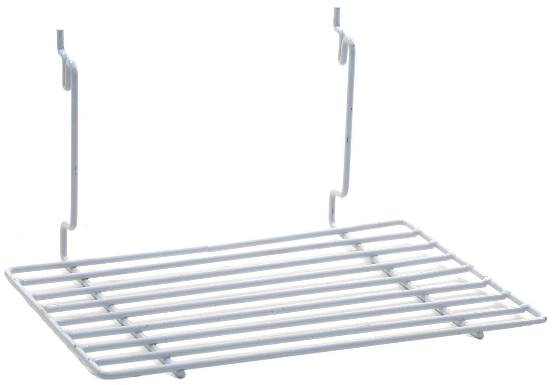 KC Store Fixtures A03065 Flat Shelf Fits Slatwall, Grid, Pegboard, 12'' W x 8'' D, White (Pack of 6)