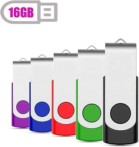 5PCS 8GB USB 2.0 Flash Drive Swivel Design Rotating Flash Memory Stick Thumb Pen