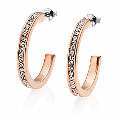 d183fed03 Rose Gold 25mm Hoop Earrings with Crystals from Swarovski: Amazon.co.uk:  Jewellery