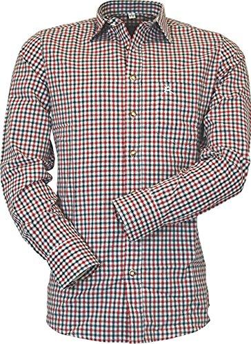 OS Karo Trachtenhemd Konrad auch in großen Größen und verschiedenen Ausführungen, Größe:Halsgröße 47/48 (3XL);Farben:rot
