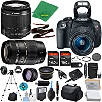 Canon Rebel T5i Camera + 18-55mm IS STM + Tamron 70-300mm AF + 2pcs 16GB Memory + Case + Reader + Tripod + ZeeTech Starter Set + Wide Angle + Tele + Flash + Battery + Charger