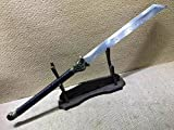 Lin creative Cleaver,Long Handled Broadsword,High Manganese Steel Blade,Leather Scabbard,Length 38.5 inch