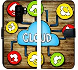 Luxlady Samsung Galaxy S9 Plus Flip Fabric Wallet Case IMAGE ID: 34402076 Aerial View of People and Cloud Computing Concepts