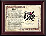 Quarell Coat of Arms/ Family Crest on Fine Paper and Family History