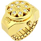 SODIAL(R) cadran Rond decor de cristal fleur elastique bracelet anneau de montre dore pour dames