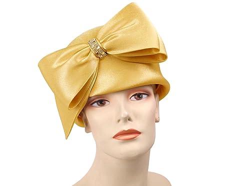 0b12f6de25998 Women s Satin Year Round Pillbox Church Dress Hats by Ms Divine  438M (Gold