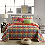 Oversized King Duvet Covers 118 X 98 3-Piece Pure Cotton Quilt Set, Check Pattern Bedspread Set, Coverlet Bed-cover, Queen Size (Red)