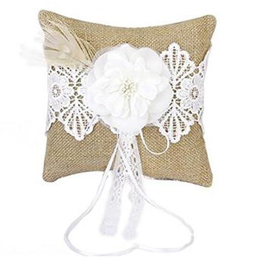 MoGist - Cojín de yute para boda, con decoración de flores ...