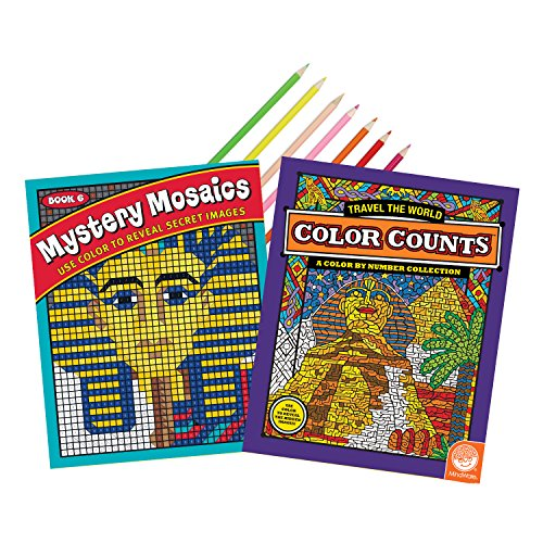 MindWare Coloring Book Set of 2: Worldly Adventures with 18 Free Artist-Quality Colored Pencils