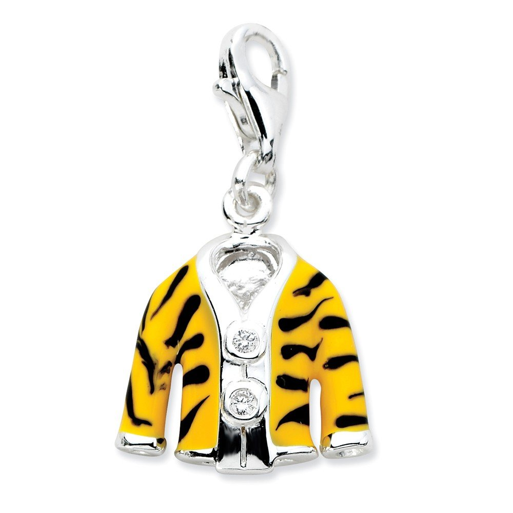 Roy Rose Jewelry Sterling Silver Amore la Vita Click-on CZ Enamel Tiger Jacket Charm