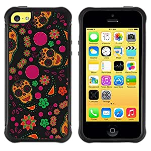 "Pulsar iFace Series Tpu silicona Carcasa Funda Case para Apple iPhone 5C , Wallpaper Flores Colorful Skulls Hippie feliz"""
