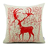 Decorative Pillow Cover - Homar Throw Pillow Covers - Merry Christmas Deer Print Pattern Decorative Pillowcase Zipper - Cotton Linen Square Cushion Cover Standard Size 18 x 18 for Couch Sofa Bed Car Seat Home Décor