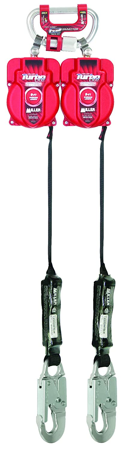 Honeywell Miller Twin Turbo 9-Foot Fall Protection System with G2 Connector and Aluminum Locking Snap Hooks (MFLC-11-Z7/9FT)