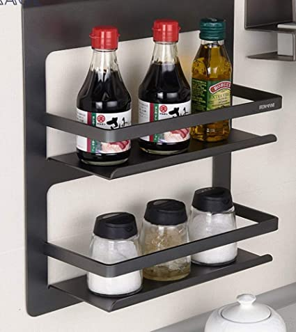 Buy Indian Decor 2 Tier Spice Rack Wall Mounted Condiment Rack Spice Shelf Kitchen Storage Kitchen Organizer Kitchen Shelf Pantry Storage Organizer Black Online At Low Prices In India Amazon In