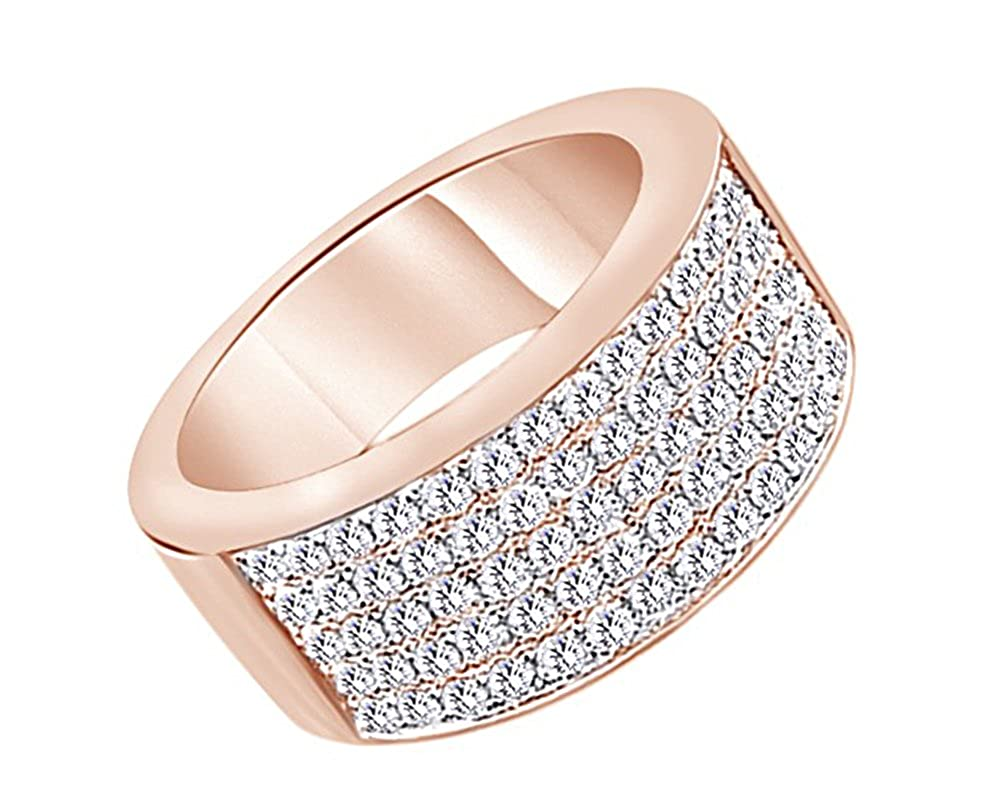 Wishrocks Princess Cut Blue /& White CZ Mens Eternity Band Ring in 14K Gold Over Sterling Silver