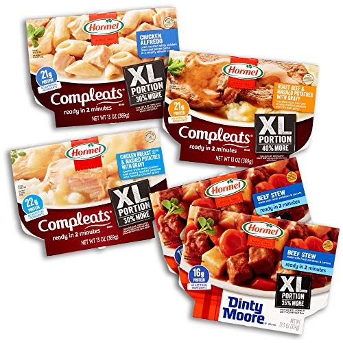 Hormel Compleats XL - XL Variety Pack - Microwave Meals - No Refrigeration Needed (Pack of 5)