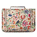 Cosmetic Bag, Yeiotsy Retro Flower Hanging Travel Toiletry Bag Women Makeup Organizer