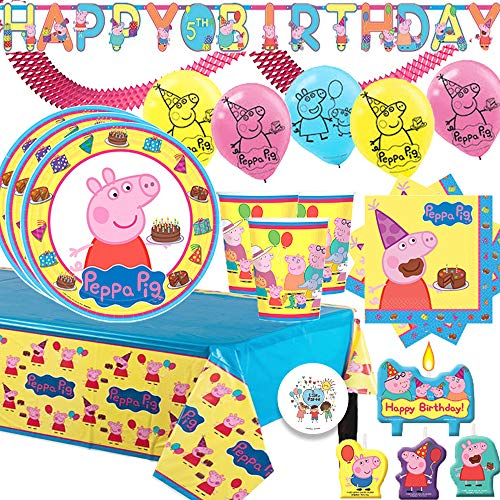 Peppa Pig Birthday Party Supplies Pack and Decorations With Plates, Cups, Napkins, Balloons, Tablecover, Birthday Candles, Add An Age Banner, Pink Garland, and Exclusive Pin by Another Dream