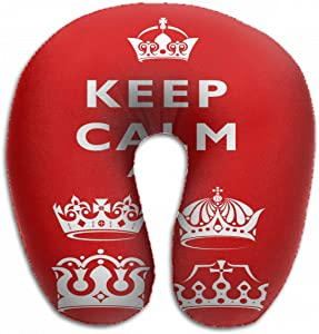 Emvency U-Shaped Travel Neck Support Pillow Red White Crown Keep Calm Airplane 12x11.5 Inch Soft U-Pillows with Rebound Material for Kids Adults