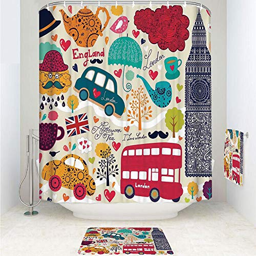 Red Toile Teapot - iPrint Polyester Fabric Bathroom Shower Curtain Set with Hooks,Painting Red Bus Big Ben Tea Pot Cup Umbrella,3pcs Set with Shower Curtain Bath Towel Non-Slip mat for Home Decor Bathroom