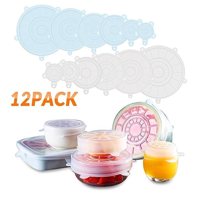 Tapas de Silicona Elásticas DYROE ,12 Tapas silicona ajustables cocina,Sin BPA,Reutilizable Fundas para Alimentos Tapa Tazas, Boles o Tarros, uso en ...