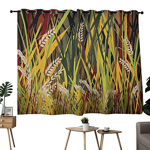 (Mannwarehouse Nature Printed Insulation Curtain Reeds Dried Leaves Wheat River Wild Plant Forest Farm Country Life Art Print Image Suitable for Bedroom Living Room Study, etc.55 Wx39 L Multicolor)