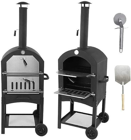 EBTOOLS Horno de Pizza Móvil para Jardín Al Aire Libre Duradera Herramienta para Hornear Pan Cocina con 2 Ruedas 50 x 36.5 x 160 cm: Amazon.es: Hogar