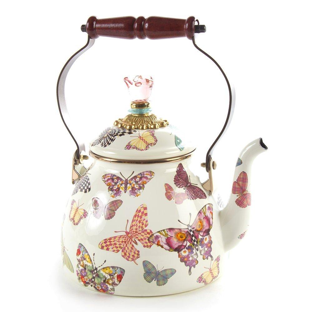 Mackenzie-Childs Butterfly Garden Enamel Tea Kettle 2 Quart - White