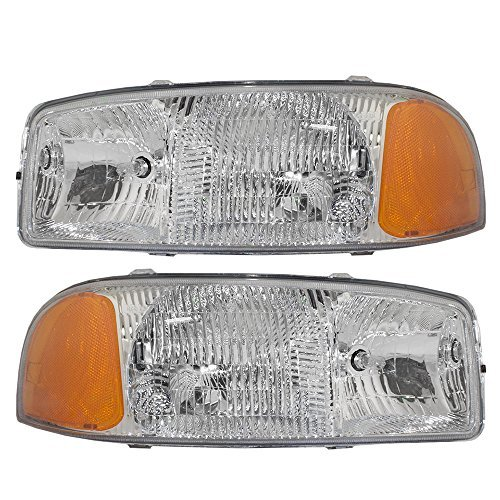Headlights Headlamps Driver and Passenger Replacements for GMC Sierra Pickup Truck Yukon SUV 15850351 15850352
