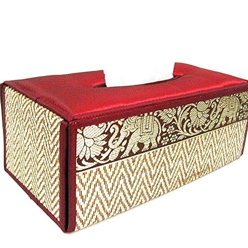 chantubtimplaza Tissue Box Cover Thai Handicraft Elephant Silk Reed Red Color Handmade Home Decor by chantubtimplaza