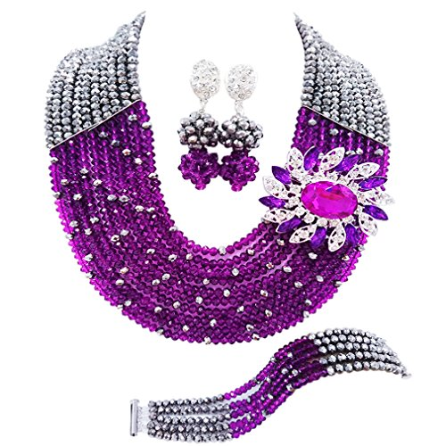 10 Layers Multi Strands Statement Necklace Nigerian Wedding African Beads Jewelry Set Crystal Beaded Bridal Party Jewelry Sets for Women Girls (Silver Purple) (Beaded Purple Jewelry Set)