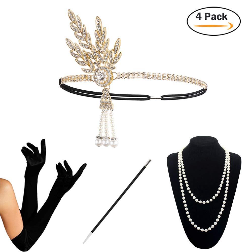 1920s Accessories Set Flapper Costume for Women (S4-HAGold)