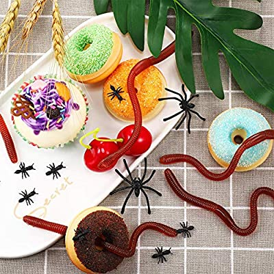 UTUT Trick Toy 10Pcs Lifelike Earthworm Worm Soft Stretchy Trick Toy Halloween Party Props: Toys & Games