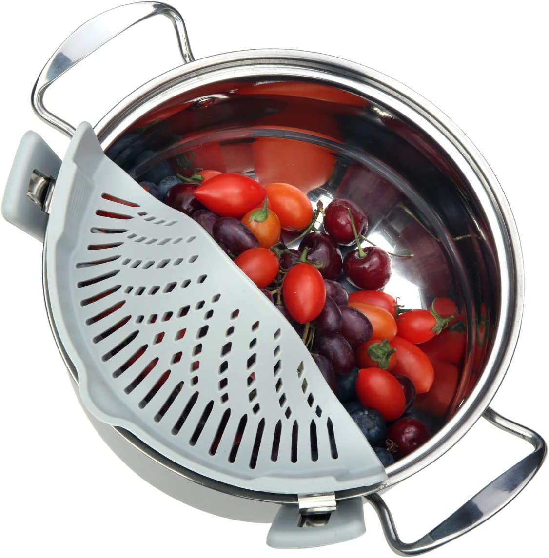 Szxc Clip On Food Strainer Over Pot - Flexible Silicone Strainer Fits Most Pots Pans Bowls - Heat Resistant - Great for Pasta Vegetable Fruit Ground Beef Grease & More - BPA Free Disheasher Safe