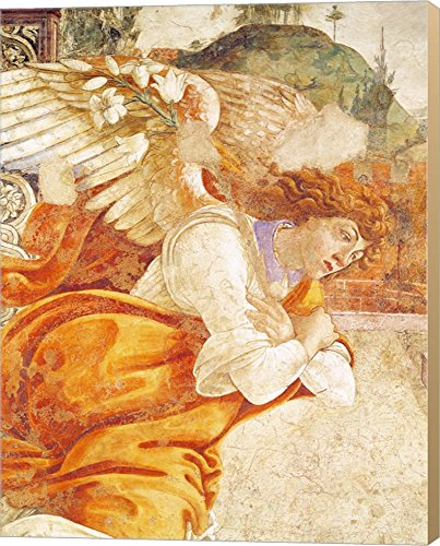 The Annunciation, detail of the Archangel Gabriel, from San Martino della Scala, 1481 by Sandro Botticelli Canvas Art Wall Picture, Museum Wrapped with Khaki Sides, 22 x 28 - Botticelli Annunciation