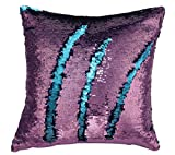 #8: Livedeal Reversible Sequins Mermaid Pillow Cases 4040cm Purple and Blue