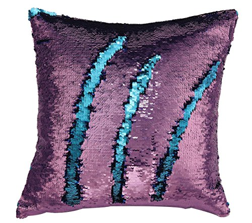 Price comparison product image Livedeal Reversible Sequins Mermaid Pillow Cases 4040cm Purple and Blue